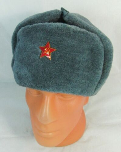 Russian Soviet Army Hat USSR Badge Real Military Fur Soldiers Ushanka Headwear