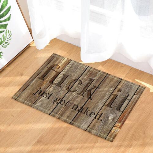 Joke Words Just Get Naked on Wooden Wall Shower Rug Bath Mat Kitchen Carpet Door