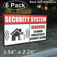 6 Home Security Burglar Alarm System Window Door Warning Vinyl Sticker Decal