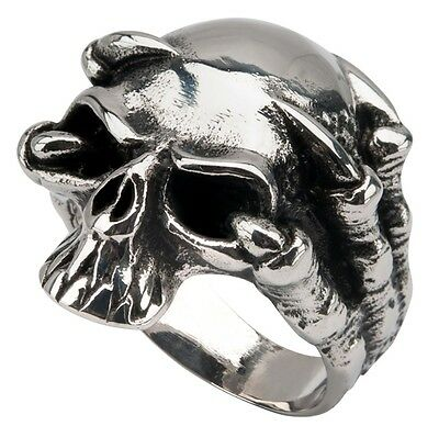 Men/'s Claw Skull Sovereign Black Oxidized Ring Inox Jewelry 316L Stainless Steel