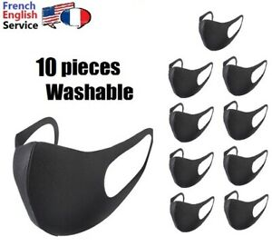 Face-mask-x-10-black-washable-coton-stretchable-Pack-de-10-masques-coton-lavable