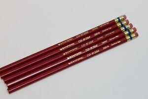 5-Vintage-Sanford-Col-Erase-Carmine-Red-20045-Wood-Coloring-Pencils