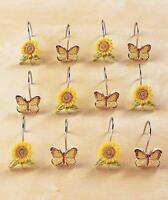 Sunflower Bathroom Decor : Set Of 12 Butterfly & Sunflower Shower Curtain Hooks
