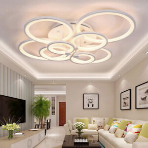 Acrylic-Modern-LED-Ring-Lamp-Chandelier-Ceiling-Light-Warm-Cool-Neutral-Light