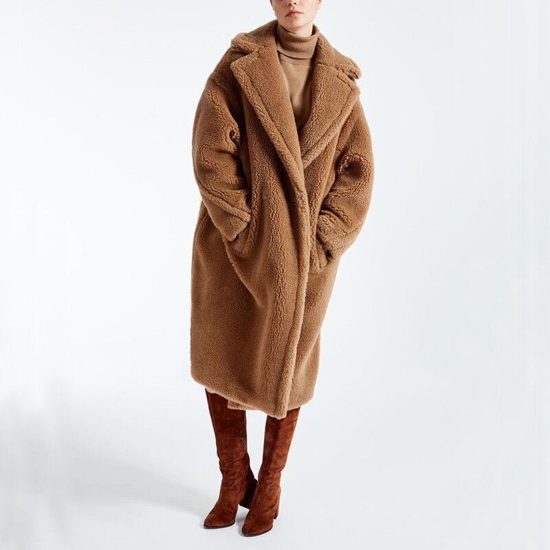 Luxury Womens Faux Fur Teddy Bear Feel Alpaca Warm Long Coat Warm Outwear Winter