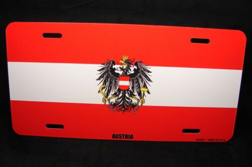 AUSTRIA FLAG METAL NOVELTY LICENSE PLATE TAG FOR CARS WITH COAT OF ARMS