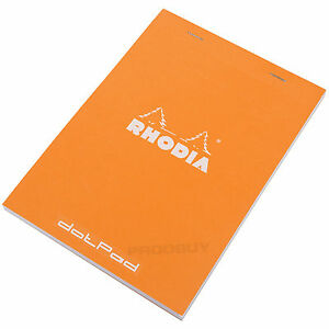 Rhodia-A5-16-dotPad-Dot-Pad-Orange-Staplebound-Matrix-Grid-Drawing-Sketch-Book
