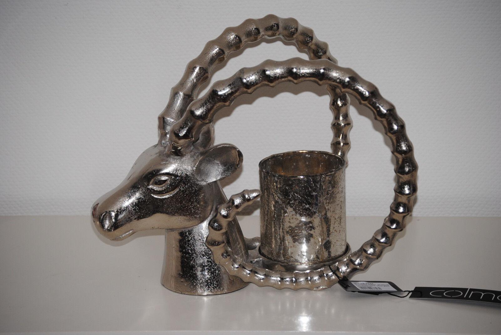 Colmore 37 cm Kerzenständer Kerzenhalter Teelichthalter Widder mit Glas NEW