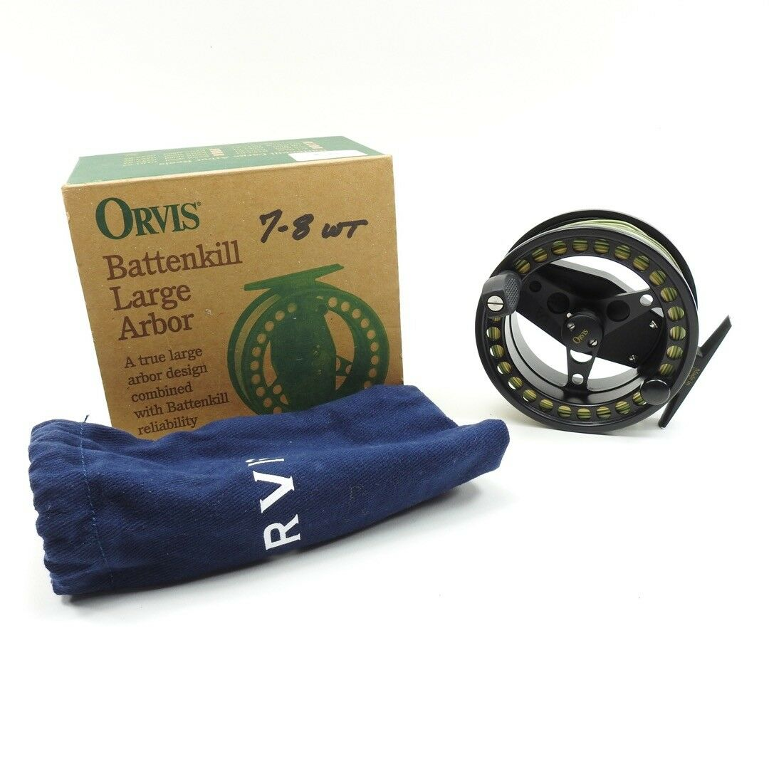Orvis Battenkill Large Large Large Arbor 7/8 Fly Fishing Reel. W/ Case and Box. 62e9ed