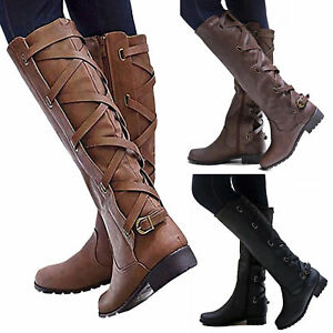Women-Riding-Boots-Lace-Up-Mid-Calf-Boots-Casual-Zipper-Buckle-Winter-Flat-Shoes