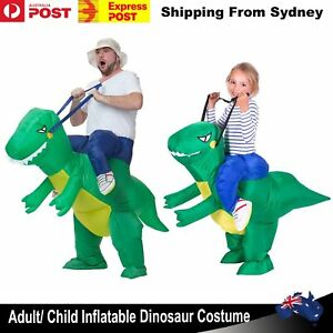 Adult-Kids-Halloween-Inflatable-Green-Dinosaur-Rider-Party-Costume-Jurassic-Suit