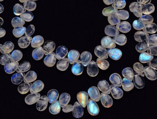 8 Strand Natural Blue Fire Moonstone Semi Precious Gemstone Loose Briolette Beads AAA White Rainbow Moonstone 7mm-8mm Heart Briolette