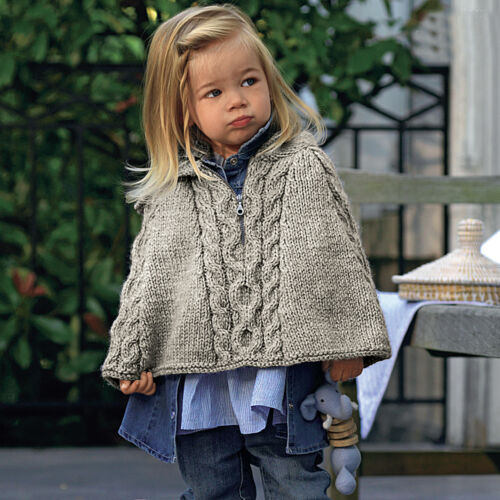 Chunky Baby Girls Hooded Cape PO327 Knitting Pattern Age 6-24months 3 sizes