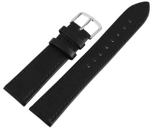 Stegbreiten: 18mm//20mm//22mm Schwarz Echt-Leder Uhren-Wechselband Glatt,Flach