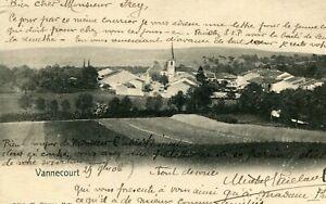 Carte-Une-vue-du-village-de-Vannecourt-Les-terres-agricoles-Clocher-de-l-039-eglise