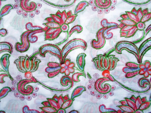 India 50 yard Hand Block Print Cotton Fabric Dye Dress Crafting Vintage Material