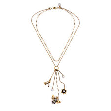 Exquiste Anthropologie Dragon Fly Beetle Flower Charm Double Chain Dangling Neck