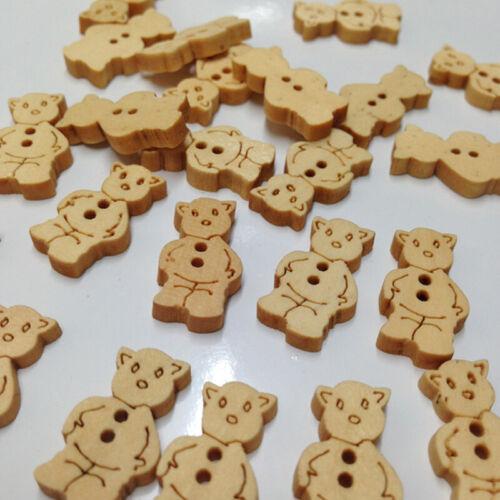 14mm De Madera Botones de oso de peluche tela coser cierres de Artesanía Coser Cuentas 100pc