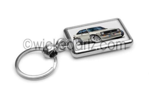 RetroArtz Cartoon Car Ford Escort MK2 Mexico in White Premium Metal Key Ring