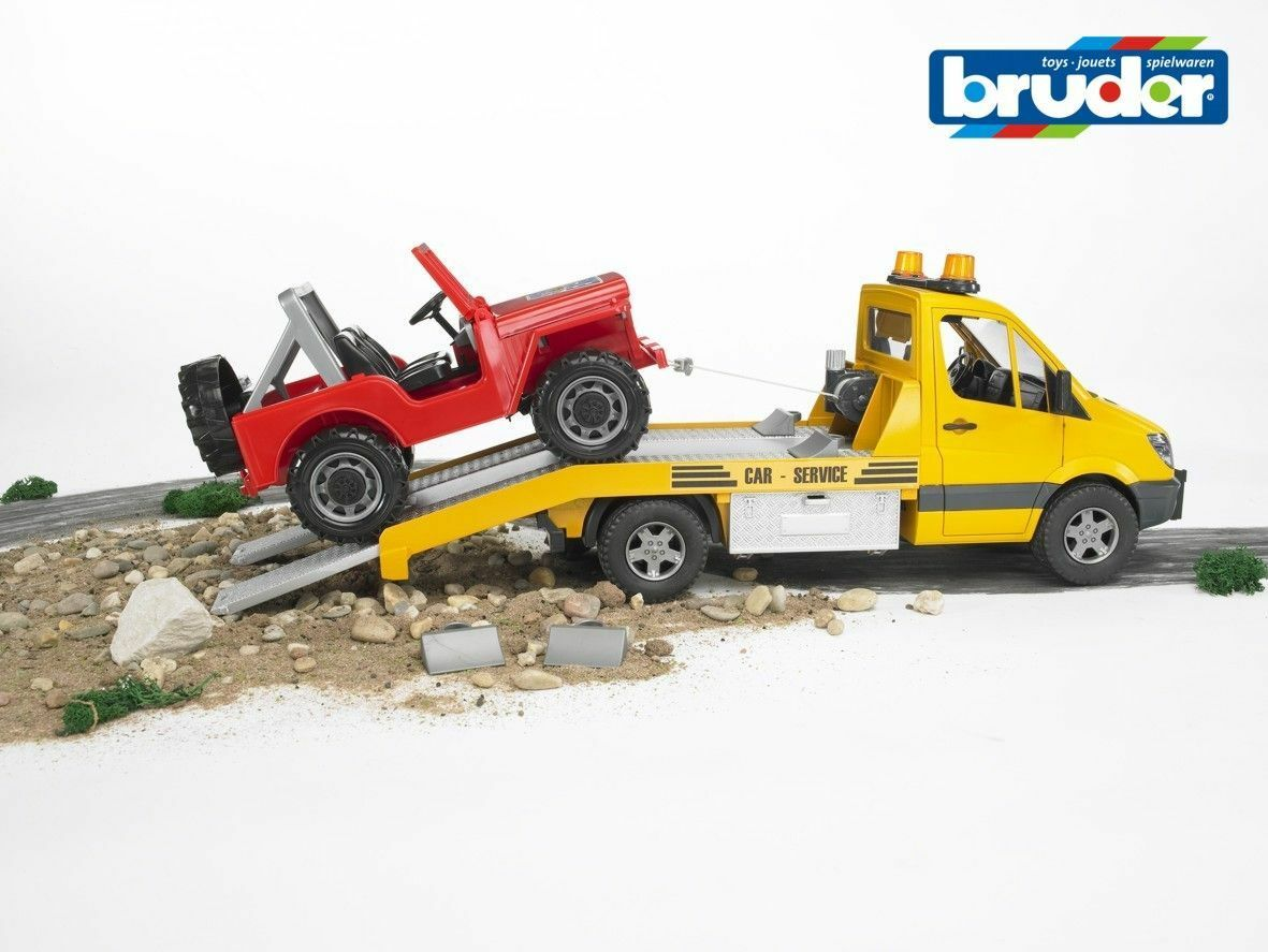 Mercedes Benz Sprinter Transporter Recovery & Jeep-Bruder 02535 Scale 1 16 NEW