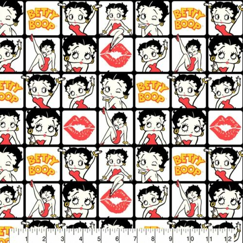 Betty Boop Squares Fabric Material