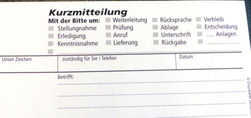 durchschreibend 22610 KURZMITTEILUNG,SD DIN Lang BLOCK Kurznachricht 2x50 Bl