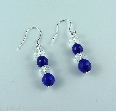 Blue Crystal Earrings Silver Plated Hand made