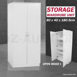Wooden 2 Doors Wardrobe Cabinet Unit Bedroom Clothe Storage Clothes Organizer
