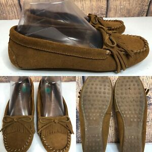Womens-MINNETONKA-Brown-Leather-Suede-Kiltie-Loafers-Flat-Moccasin-Shoes-SIZE-8