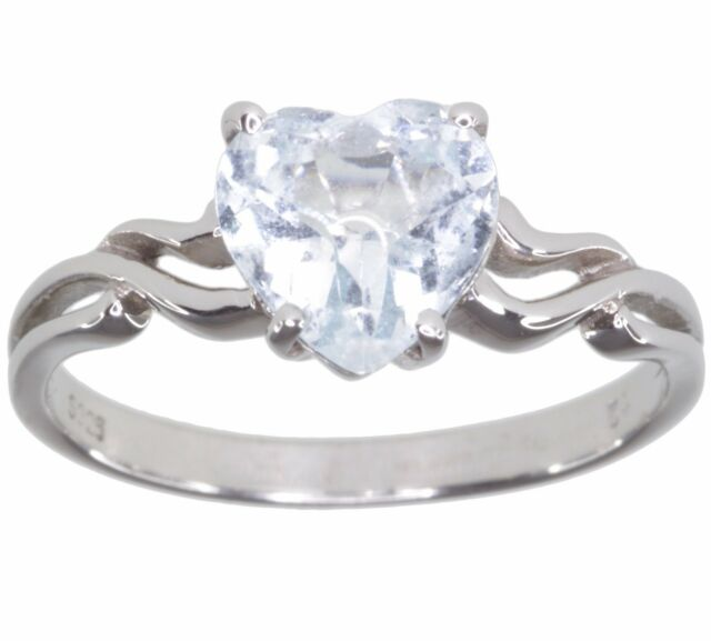 Aquamarine Gemstone 1.3 carat Heart Sterling Silver Ring size L