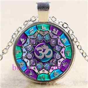 Vidrio-Cabujon-de-OM-independencia-Mandala-Tibet-Plata-Cadena-Colgante-Collar