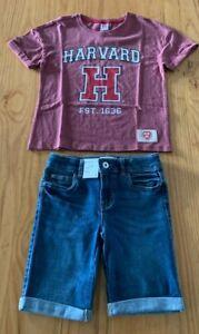 Girls-size-8-Burgundy-HARVARD-t-shirt-amp-blue-denim-knee-length-shorts-Target-NEW