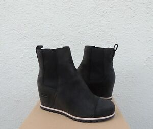 9101f9e6023 Details about UGG PAX BLACK WATERPROOF LEATHER/ SHEEPSKIN WEDGE BOOTS, US  5/ EUR 36 ~NIB