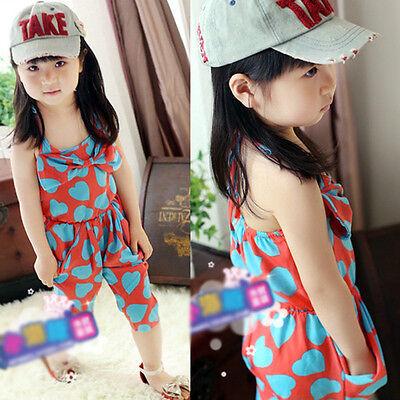 Lovely Kids Baby Girls Dress Summer Cool Heart Pattern Chiffon Sleeveless Skirt