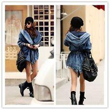 Neue Frauen Kühle Denim Maxi-Hoodie-Oberbekleidung mit Kapuze Jeans-Mantel-Jacke