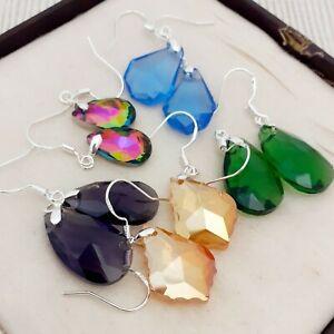Vintage-Style-5-Pairs-of-Glass-Crystal-Dangle-Earrings-Blue-Green-Orange-Purple