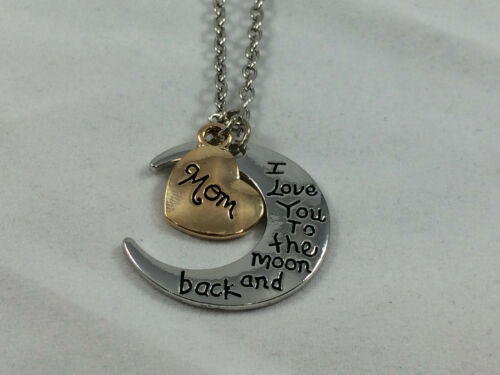 """/""""I LOVE YOU TO THE MOON AND BACK /"""" Necklace Pendant MOM Heart"""