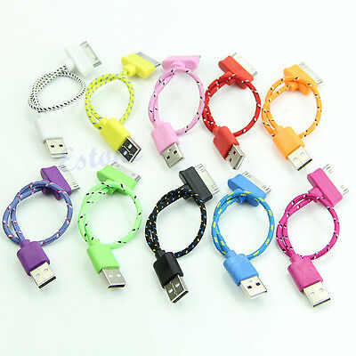 8'' 20cm Short Braided USB Sync Charger Cable Cord For iPhone 4 4S iPad 2