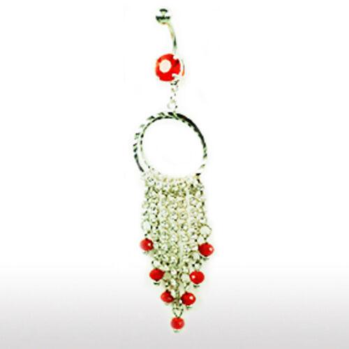 Bauchnabel Piercing Schmuck mit Ring und Kristallketten Anhänger beweglich