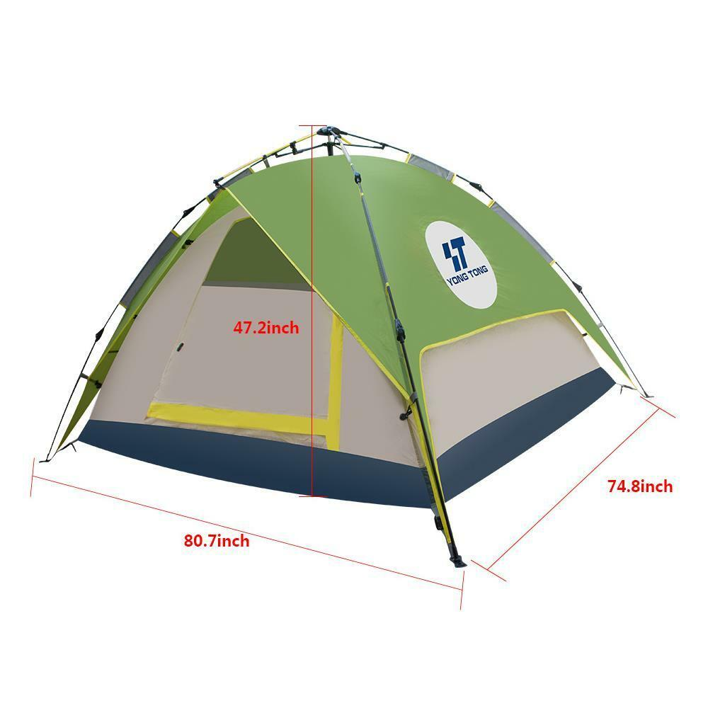 Grün Grün Grün /Grau Double layer Easy-to-use Auto Pop-up Camping Tent for 3-4 Person f15523