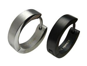 Kikuchi-Herren-Ohrringe-Titan-Edelstahl-Creolen-4mm-16mm-silber-schwarz-matt