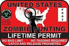 3 Pack Funny Zombie Hunting Permit Sticker Vinyl Usa Outbreak Response 45