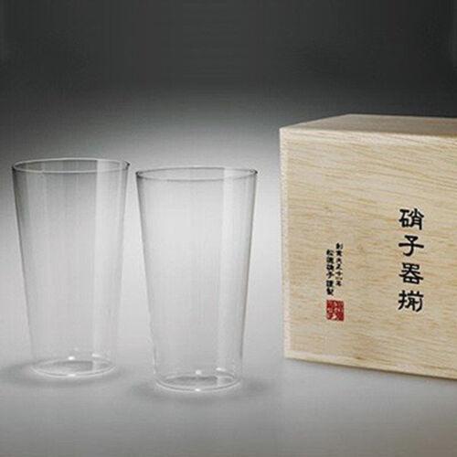 SHOTOKU Glass USUHARI glass Tumbler L size 2 sets pair glass with wooden box