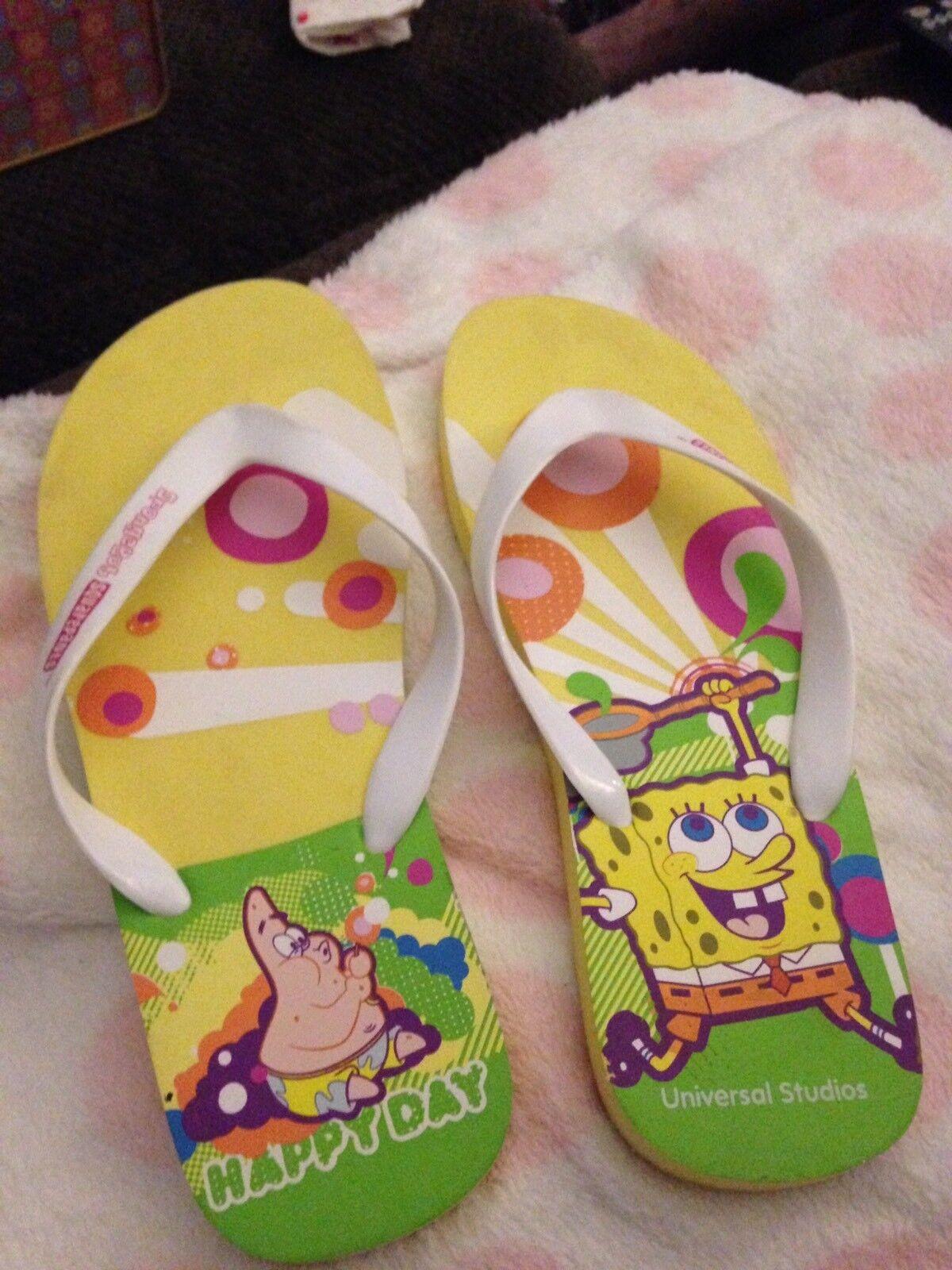 Universal Studios Sponge Bob Square 10 Panta Flip Flops Size 10 Square 014898