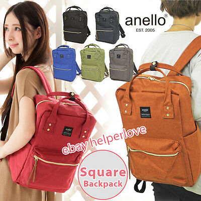 Japan Anello Original SQUARE Backpack Rucksack Unisex Canvas School Bag Campus