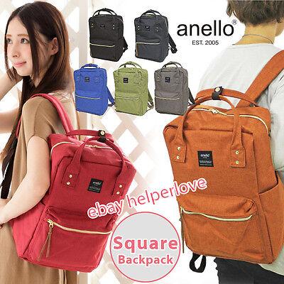 Japan Anello Original SQUARE Backpack Rucksack Unisex Canvas School Bag Campus