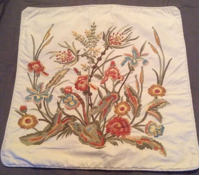 Pottery Barn embroidered pillow cover. Euc. 24sq. Gorgeous Fall Colors