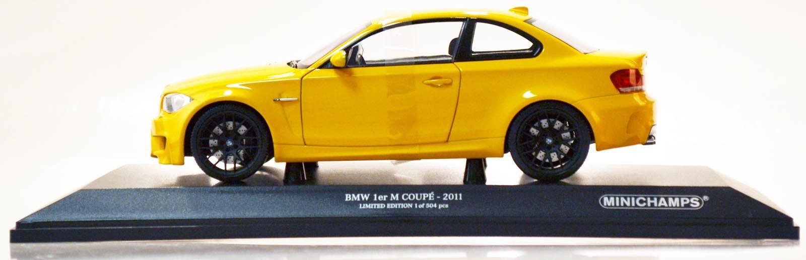 MINICHAMPS 110020026 BMW 1er M Coupé - 2011 jaune 1 18 Nouveau Neuf dans sa boîte