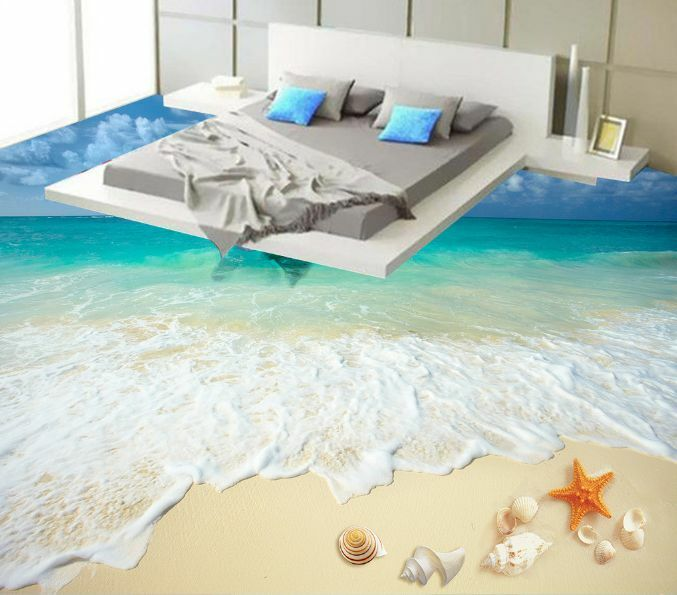 3D Waves Beach Starfish Floor Wallpaper Murals Wall Print Decal 5D AJ WALLPAPER