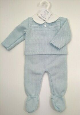 PEX Baby Boys Knitted Spanish Romany Style 2 piece set Jam pants Blue NB 6-9 m